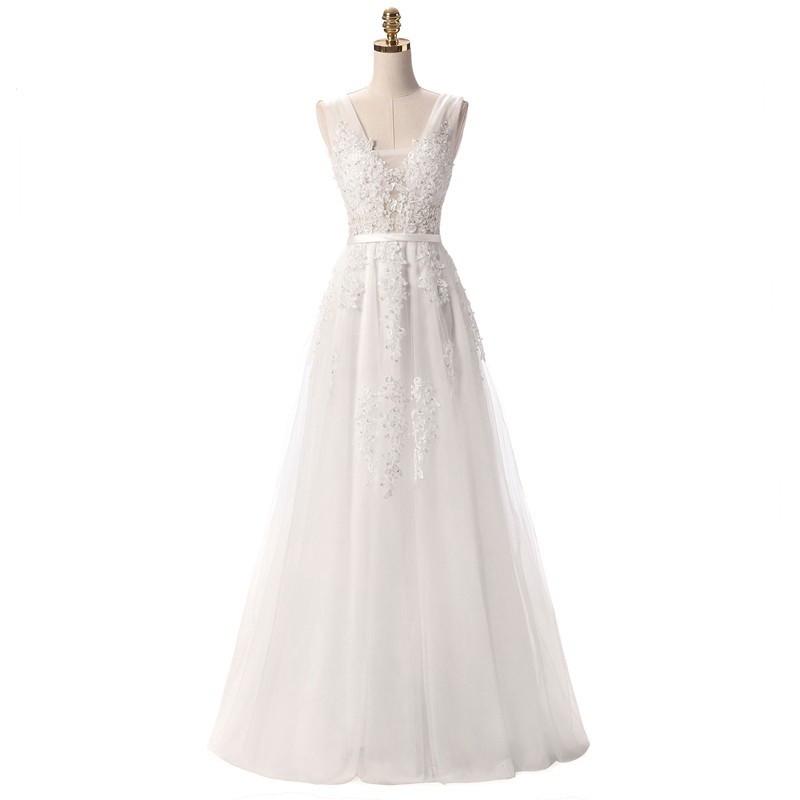 e03e23f0e73 dlouhé bílé krajkované svatební šaty na ramínka Andromeda S ...