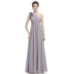 dlouhé jednoduché šedé šaty na jedno rameno Sindy XS