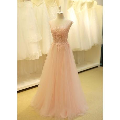 světle růžové dlouhé tylové plesové šaty Alvina XS