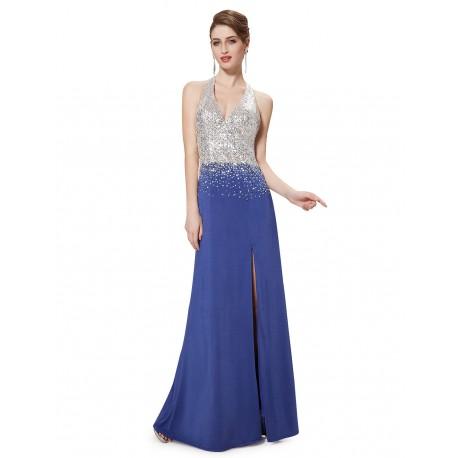 4593ebb651a2 dlouhé modré plesové šaty s holými zády Linda XS - Hollywood Style E ...