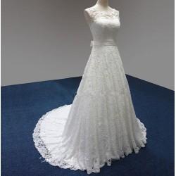 krajkované krémové svatební šaty na ramínka Lisbet L-XL