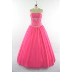 dlouhé sytě růžové plesové šaty s tylovou sukní Silva S-M