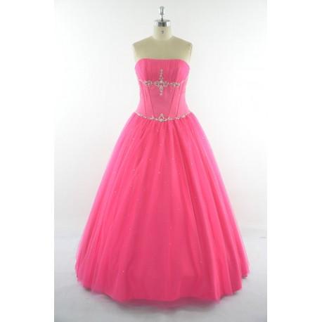 dlouhé sytě růžové plesové šaty s tylovou sukní Silva S-M ... 98416ce23a