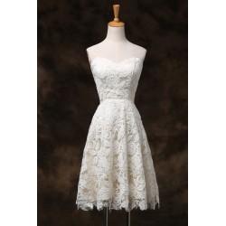 krátké krémové svatební nebo společenské šaty krajkové Linda S-M