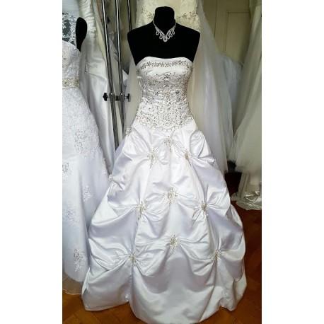 bílé svatební saténové šaty se zdobením Ramona S-M