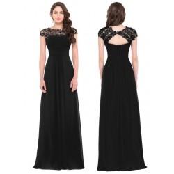 dlouhé černé společenské šaty s krajkovým živůtkem XL