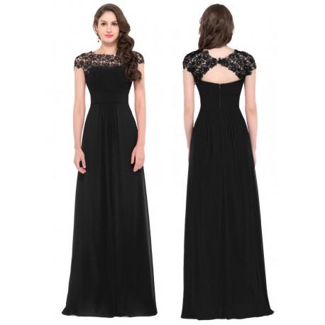 0316b0a786d0 dlouhé černé společenské šaty s krajkovým živůtkem XL - Hollywood ...