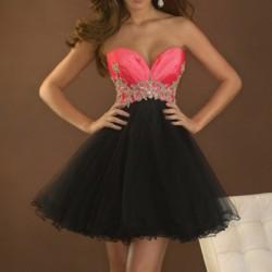 krátké černé společenské šaty s tylovou sukní Rose XS-S