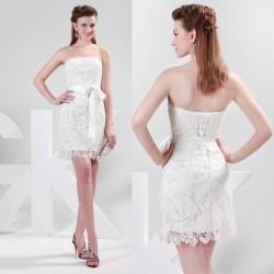 krátké krajkové krémové svatební šaty, popůlnoční šaty Linda S-M