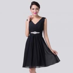 krátké černé společenské šaty na ramínka Sindy XL