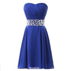 krátké modré společenské šaty se štrasem Tina S-M