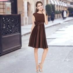krátké hnědé společenské šaty na ramínka Joan XL