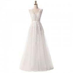 dlouhé bílé krajkované svatební šaty na ramínka Andromeda S