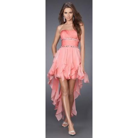 Módní společenské šaty - broskvové