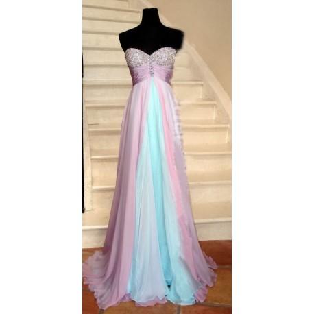 překrásné modré plesové šaty s růžovou vrchní vrstvou Elma XS-S