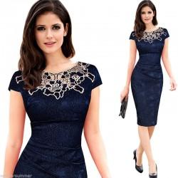 tmavě modré společenské šaty s krajkovým vzorem XXL