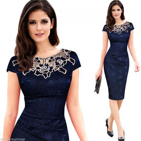 feabe77e4548 Krátké modré společenské šaty do kanceláře - plus size