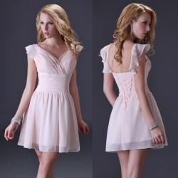 světle růžové pudrové krátké společenské šaty s volánky Luisa XS-S
