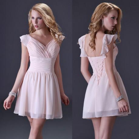 světle růžové pudrové krátké společenské šaty s volánky Luisa XS-S ... 785f5692f2