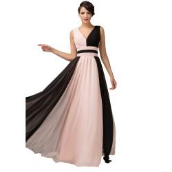 dlouhé krémové černé společenské šaty na ramínka Alizé M
