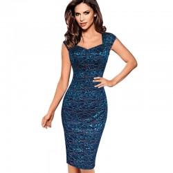 krátké modré pouzdrové společenské šaty Linda M