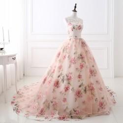 květované plesové nebo svatební šaty Boho XS-S