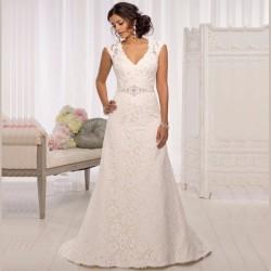 krajkové krémové svatební šaty na ramínka Dolce S b227bb2f1e