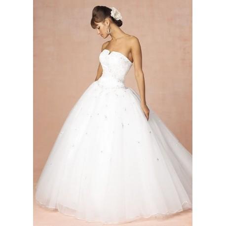 bohaté princeznovské bílé svatební šaty Princess M-L