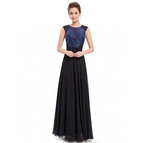 dlouhé černé společenské šaty s modrým vyšívaným korzetem Linda XS
