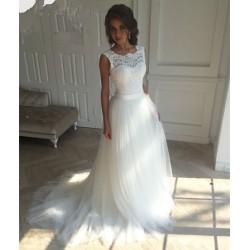 tylové bílé svatební šaty s krajkovým živůtkem a ramínky Loretta XS-S