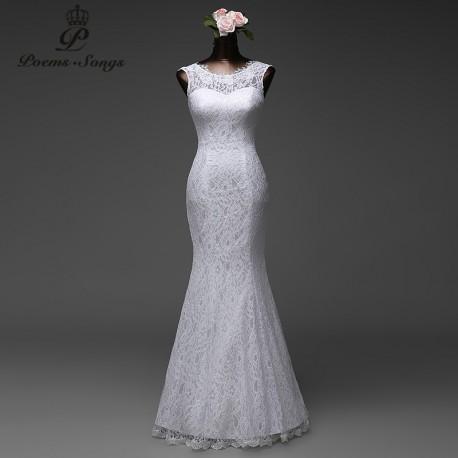 krajkové bílé svatební šaty úzké na tělo Amthea S-M