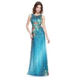 překrásné dlouhé barevné modré společenské šaty XS