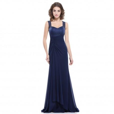 jednoduché dlouhé tmavě modré společenské šaty na ramínka Joly XS
