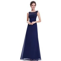 dlouhé tmavě modré společenské šaty na ramínka Andy XL