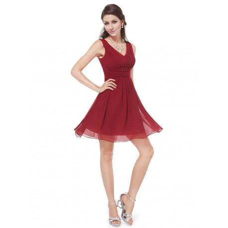 krátké bordó červené vínové společenské šaty Tina XL