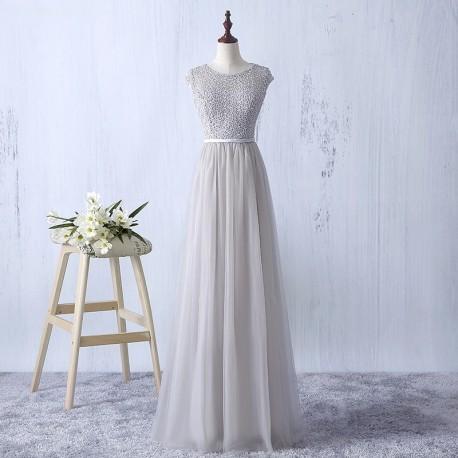 šedivé plesové společenské dlouhé tylové šaty Donna XS