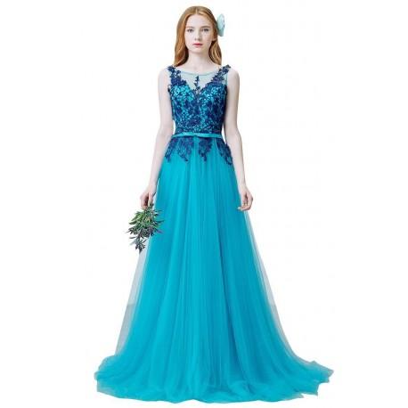 789047430afb tyrkysové modré plesové tylové šaty na ramínka Brenda XS - Hollywood ...