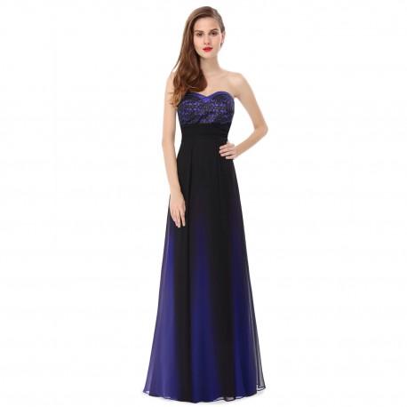 ombre dlouhé modré společenské šaty Tina XS