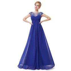 dlouhé modré společenské šaty na ramínka Talinda XS