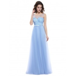 světle modré dlouhé společenské šaty na ramínka Anastasia L