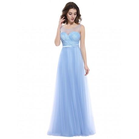 4e1763a14789 Světle modré tylové společenské šaty na ples - dlouhé modré šaty
