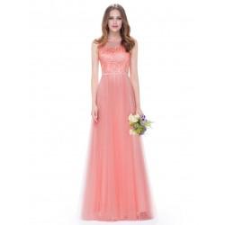 meruňkové dlouhé plesové šaty s krajkou na ramínka Celia M