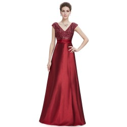 vínové dlouhé společenské šaty na ramínka Ebony XS