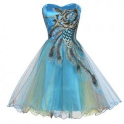 krátké tyrkysové společenské šaty s pavím vzorem S-M