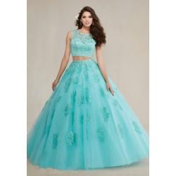 dvoudílné modré tyrkysové plesové šaty na maturitní ples Isabella XS