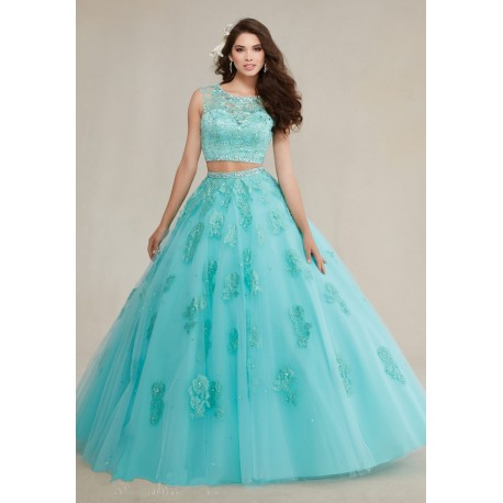 256998e762d dvoudílné modré tyrkysové plesové šaty na maturitní ples Isabella XS ...