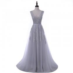 dlouhé šedivé plesové tylové šaty Andromeda S