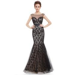 luxusní dlouhé krajkové černé společenské šaty Arial M