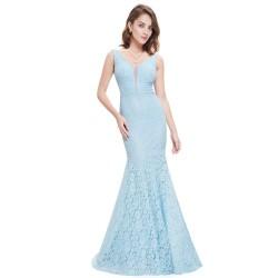 krajkové dlouhé světle modré plesové šaty Dorotka XS