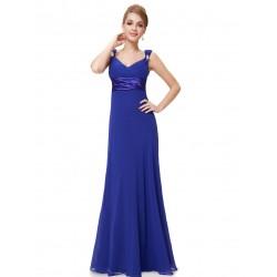 jednoduché modré dlouhé společenské šaty Petra XS